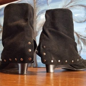 NAUGHTY MONKEY BLACK SUEDE STUDDED BOOTS 8.5